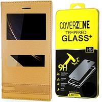 Coverzone Turkcell T70 Kılıf Elite Deri Kapaklı Gold + Cam