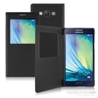 Case 4U Samsung Galaxy A7 Pencereli Flip Cover Kılıf Siyah