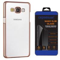 Cepsesuar Samsung Galaxy E5 Kılıf Silikon Lazer Gold + Cam