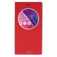 Lopard Asus Zenfone 2 Laser 6.0 Pencereli Kırmızı Dolce Kapaklı Deri Akıllı Kılıf