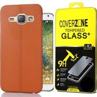 Coverzone Samsung Galaxy E7 Kılıf Deri Silikon + Cam