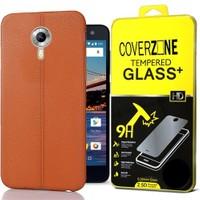 Coverzone General Mobile One 4G Kılıf Deri Silikon + Cam