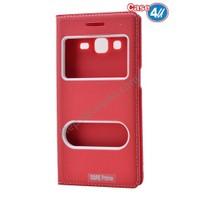 Case 4U Samsung Galaxy Core Prime Pencereli Kapaklı Kılıf Kırmızı