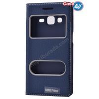 Case 4U Samsung Galaxy Core Prime Pencereli Kapaklı Kılıf Lacivert