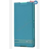 Case 4U Sony Xperia C5 Ultra Gizli Mıknatıslı Kapaklı Kılıf Mavi