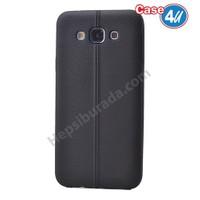 Case 4U Samsung Galaxy E5 Desenli Silikon Kılıf Siyah