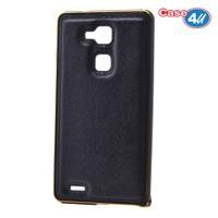 Case 4U Huawei Mate 7 Metal Çerçeveli Suni Deri Arka Kapak Siyah