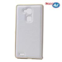 Case 4U Huawei Mate 7 Metal Çerçeveli Suni Deri Arka Kapak Beyaz