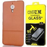 Coverzone General Mobile Gm5 Plus Kılıf Deri Görünümlü Silikon + Cam