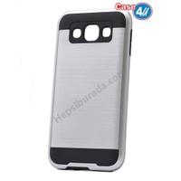 Case 4U Samsung Galaxy E5 Korumalı Kapak Gümüş*