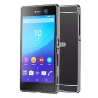 Kılıfshop Sony Xperia M5 Aynalı Lüks Bumper Kılıf (Siyah)