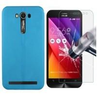Kılıfshop Asus Zenfone 2 Laser Ze550kl Silikon Kılıf Dikiş Desenli Mavi + Ekran Koruyucu