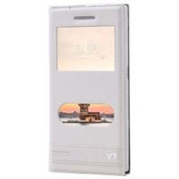 Kılıfshop Vestel Venüs V3 5570 Pencereli Kılıf Beyaz + Ekran Koruyucu
