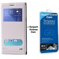Teleplus Samsung Galaxy A9 Çift Pencereli Kılıf Beyaz + Temperli Cam Ekran Koruyucu