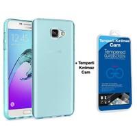 Teleplus Samsung Galaxy A3 2016 Silikon Kılıf Mavi + Temperli Cam Ekran Koruyucu