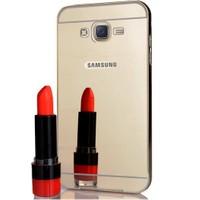 CoverZone Samsung Galaxy J5 Kılıf Aynalı Metal Bumper Gümüş