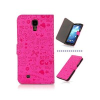 Microsonic Cute Figürlü Deri Kılıf Samsung Galaxy S4 İ9500 Pembe