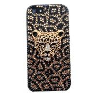 Resonare Apple iPhone 5 - 3D Leopar Taşli - Sari Siyah Kapak