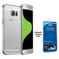 Teleplus Galaxy S6 Edge Plus Aynalı Kapak Gümüş + Cam Ekran Koruyucu Kavis Dahil
