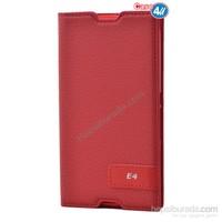Case 4U Sony Xperia E4g Gizli Mıknatıslı Kapaklı Kılıf Kırmızı