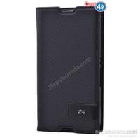 Case 4U Sony Xperia E4g Gizli Mıknatıslı Kapaklı Kılıf Siyah