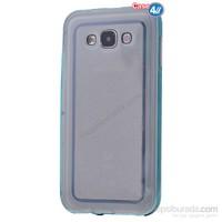 Case 4U Samsung Galaxy E5 Çerçeveli Silikon Kılıf Mavi