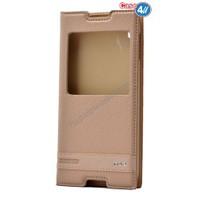 """Case 4U Alcatel Idol 3 5.5"""" Pencereli Kapaklı Kılıf Altın"""