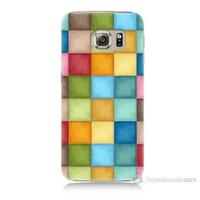 Teknomeg Samsung Galaxy S6 Kapak Kılıf Renkli Kareler Baskılı Silikon