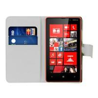 Microsonic Cüzdanlı Deri Nokia Lumia 820 Kılıf Beyaz