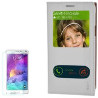 Cep Market Samsung Galaxy Note 4 Kılıf Pencereli Kapaklı Milano Cam