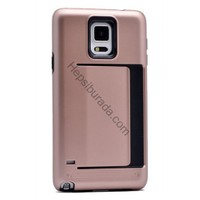 Case 4U Samsung Galaxy Note 4 Korumalı Sert Arka Kapak (Kart Cepli) Rose Gold