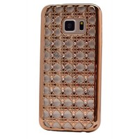 Case 4U Samsung Galaxy S6 Edge Kare Taşlı Parlak Silikon Kılıf Altın