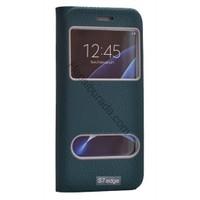 Case 4U Samsung Galaxy S7 Edge Pencereli Kılıf Gizli Mıknatıslı Yeşil