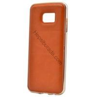 Case 4U Samsung Galaxy S7 Deri Arka Kapak Metal Çerçeveli Kahverengi