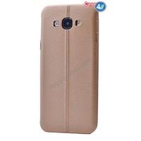Case 4U Samsung E7 Parlak Desenli Silikon Kılıf Koyu Altın