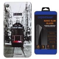 Cepsesuar Sony Xperia Z2 Kılıf Silikon Resimli Tramvay - Cam