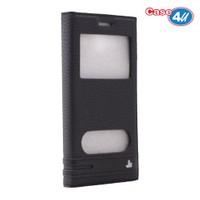 Case 4U Samsung Galaxy J5 Pencereli Kapaklı Kılıf Siyah