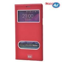 Case 4U Samsung Galaxy Note 4 Pencereli Kapaklı Kılıf Kırmızı