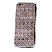 Case 4U Apple İphone 6S Kare Taşlı Parlak Silikon Kılıf Gümüş