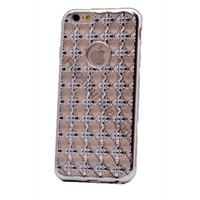 Case 4U Apple İphone 6 Plus Kare Taşlı Parlak Silikon Kılıf Gümüş