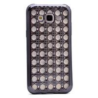 Case 4U Samsung Galaxy J5 Kare Taşlı Parlak Silikon Kılıf Koyu Gri