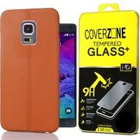 Coverzone Samsung Galaxy Note 4 Kılıf Deri Silikon + Cam