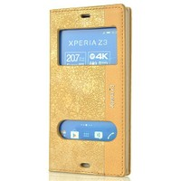 Coverzone Sony Xperia Z3 Kılıf Veezed Çift Pencere Kapaklı + Temperli Cam