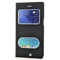 CoverZone Samsung Galaxy J2 Kılıf Safir Çift Pencere Kapaklı Siyah
