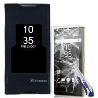 Kılıfshop Sony Xperia Z5 Premium Pencereli Magnum Kılıf (Siyah) + Ekran Koruyucu