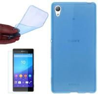 Cep Market Sony Xperia T3 Kılıf 0.2Mm Mavi Silikon - Cam