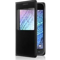 Case 4U Samsung Galaxy J1 Pencereli Flip Cover Siyah