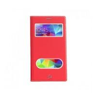 Lopard Samsung Galaxy S5 Pencereli Kırmızı Dolce Kapaklı Deri Akıllı Kılıf