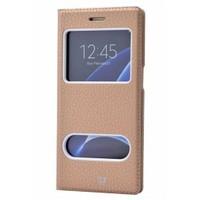 Lopard Samsung Galaxy S7 Edge Pencereli Dolce Kapaklı Deri Akıllı Gold Kılıf