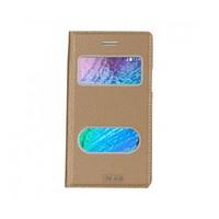 Lopard Samsung Galaxy J1 Ace Pencereli Dolce Kapaklı Deri Akıllı Gold Kılıf